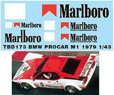 1/43 MARLBORO  BMW PROCAR M1 1979 NIKI LAUDA SPONSOR DECALS TB DECAL TBD173