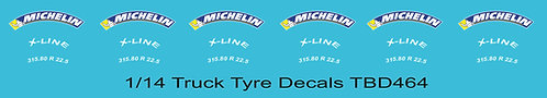 1/14 Michelin Colored Tire Decals for Trucks   Tyre Pneumatici  Lorry TBD464