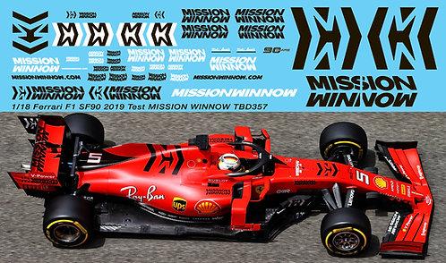1/18 Ferrari SF90 2019 Test Mission Winnow Decals Vettel Leclerc TBDecal TBD357