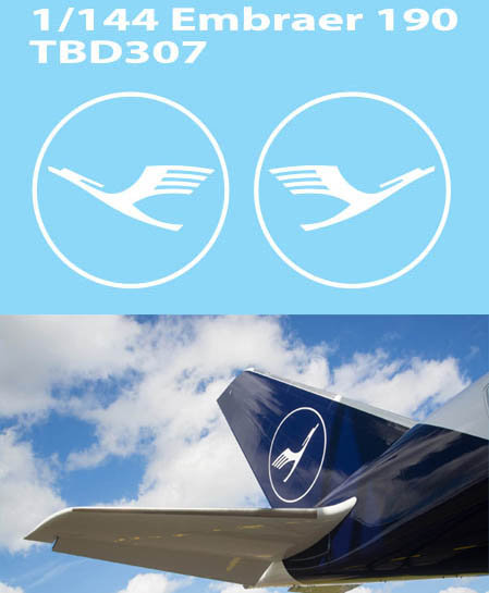 1/144 DECALS NEW  LUFTHANSA TAIL LOGO EMBRAER 190 DECAL TBD307