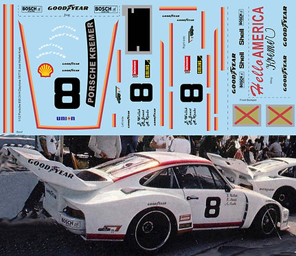 1/12 Decals Porsche 935 24 H Daytona 1977 8 Jost Wollek Kreb Decal TBD487