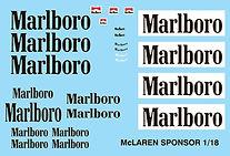 1/18 MARLBORO MCLAREN SENNA PROST  SPONSOR DECALS  TB DECAL TBD81