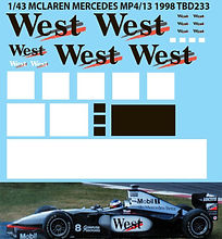 1/43 WEST McLAREN MERCEDES MP4/13 1998  MISSING DECALS TB DECALS TBD233