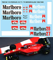 1/18 MARLBORO  FERRARI 412 T1 / T2 F1 DECALS G.BERGER J.ALESI DECALS TB DECAL TBD190