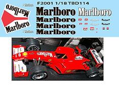 1/18 MARLBORO FERRARI F1 F2001 F 2001 MICHAEL SCHUMACHER SPONSOR  DECALS TB DECAL TBD114