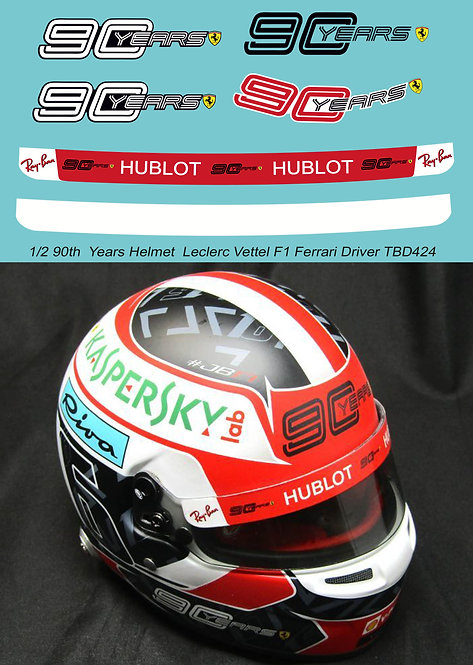 1/2  90 th  Years  Logo X Helmet  Leclerc 2019 F1 Ferrari Decals TB Decal TBD424