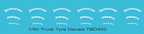 1/50 Bridgestone Tire Decals for Trucks  Tyre Pneumatici  Lorry Camion TBD453
