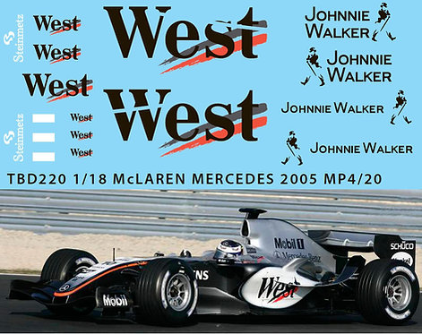 1/18  McLAREN MERCEDES MP4/20 2005 DECALS TBD220