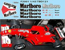 1/43 MALBORO FERRARI F1 F2001 2001 MICHAEL SCHUMACHER SPONSOR DECALS TB DECAL TBD121
