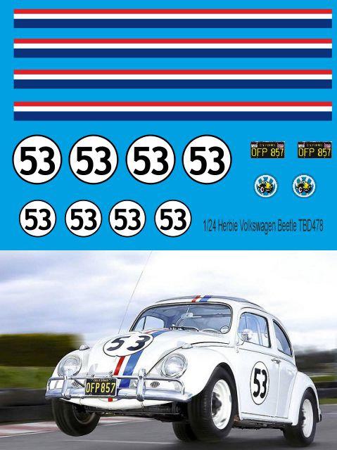 1/24 Herbie Decals for Volkswagen Beetle  TB Decal TBD478