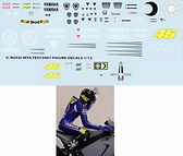 1/12 VALENTINO ROSSI IRTA TEST 2007 FIGURE & HELMET DECALS TB DECAL TBD34