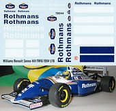 1/18 ROTHMANS RACING  WILLIAMS RENAULT SENNA HILL FW16 1994 DECALS TB DECAL TBD44