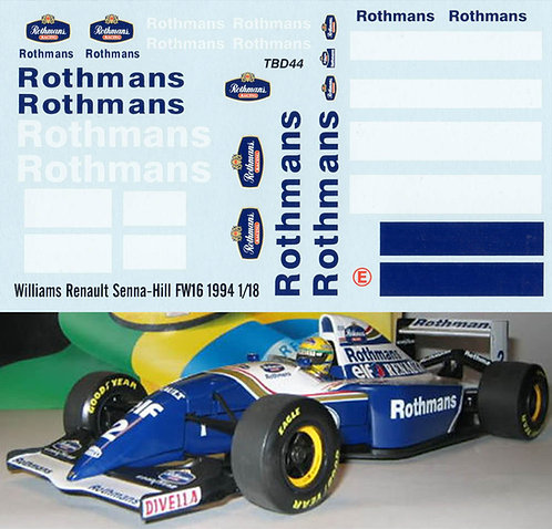 1/18  WILLIAMS RENAULT SENNA HILL FW16 1994 TBD44