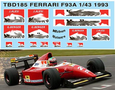 1/43 FERRARI F93A F1 1993 SPONSOR DECALS TBD185