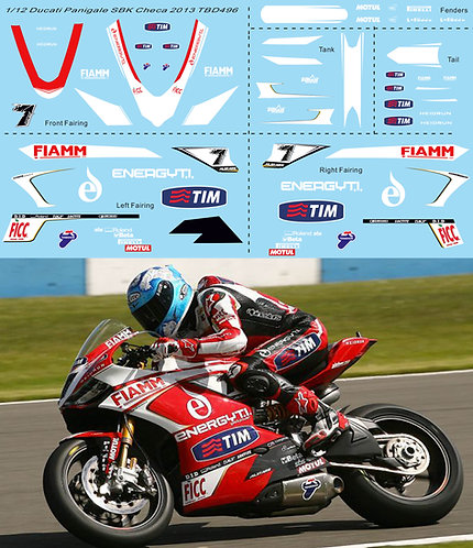 1/12 Decals Ducati Panigale 1199 SBK 2013 Carlos Checa TB Decal TBD496