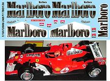 1/18 MARLBORO FERRARI F 248 F1 F2006 2006 MICHAEL SCHUMACHER SPONSOR DECALS TB DE TBD126