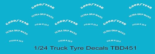 1/24 GoodYear Tire Decals for Trucks  Tyre Pneumatici  Lorry Camion TBD451