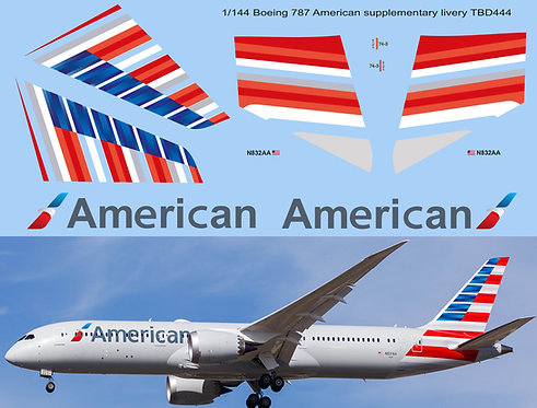 1/144 Boeing 787 American Airlines Livery Decals Decal TBD444