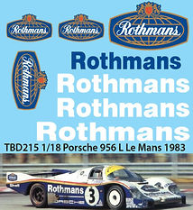 1/18 ROTHMANS PORSCHE  956 L LE MANS 1983 DECALS TB DECAL TBD215