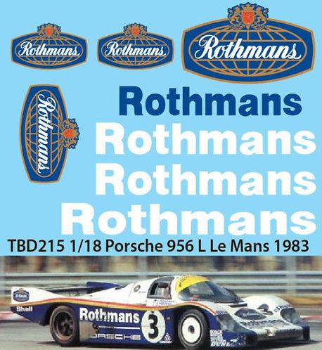 1/18  PORSCHE  956 L LE MANS 1983 DECALS TBD215
