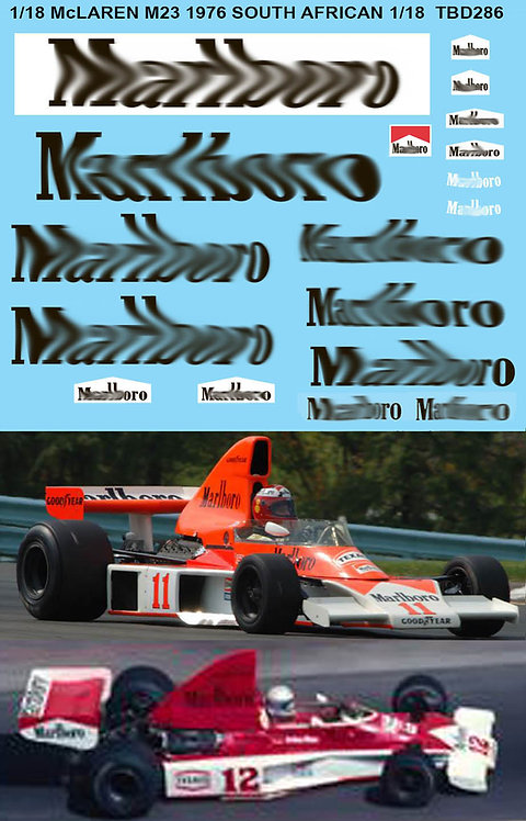 1/18  McLAREN FORD  M23 SOUTH AFRICA GP 1976 HUNT MASS DECALS DECALTBD286