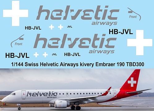 1/144 Helvetic Airways Livery Decals for Embraer 190 Decal TBD300