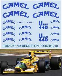 1/18  CAMEL BENETTON FORD SPONSOR B191B 1992 DECALS TB DECAL TBD197