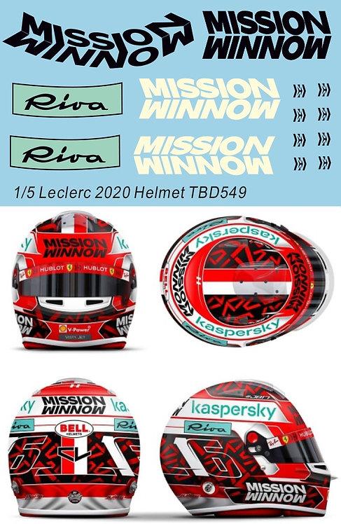 1/5 Decals Mission Winnow Charles Leclerc 2020 Helmet Casco F1 Decal TBD549