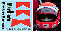 1/2 MARLBORO NIKI LAUDA HELMET 1984 SPONSOR FOR BELL SPORTS DECALS TB DECAL TBD194