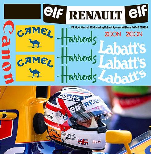 1/2 Nigel Mansell 1992 Missing Helmet Williams