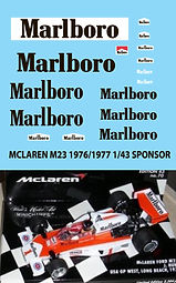 1/43 MARLBORO  MCLAREN M23 1976 1977 HUNT MASS DECALS TB DECAL TBD58