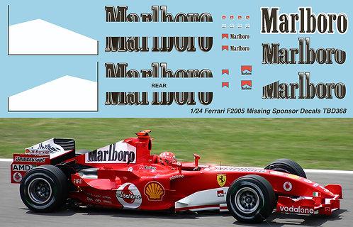 1/24 Ferrari F2005 Schumacher Barrichello Missing Sponsor Decals TB Decal TBD368
