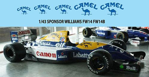 1/43 Camel   Williams FW14 FW14B FW15 FW15C  TBD75