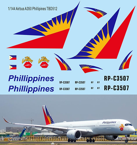 1/144 Phillipines Airlines Livery  Decals for Airbus A350 TB Decal TBD512