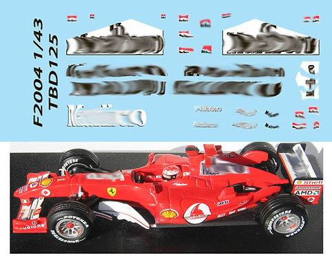 1/43  FERRARI F1 F2004  SCHUMACHER TBD125