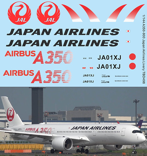 1/144 Decals for Airbus A350 900 Japan Airlines Livery  Decal TBD498