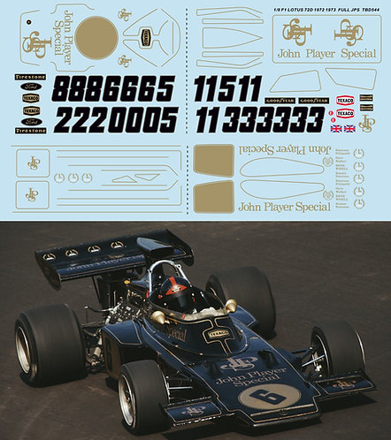 1/8 DECALS  F1 LOTUS 72D 1972 1973  FULL JPS DECAL TBD544