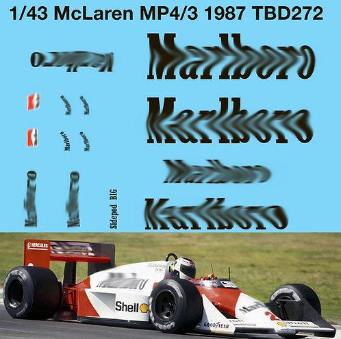 1/43 McLaren MP4/3 F1 1987 Decals TB Decal TBD272