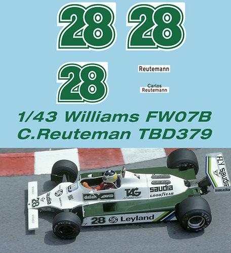 1/43 Williams FW07B Carlos Reuteman 1980 Decals TB Decal TBD379