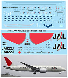 1/144 JAPAN AIRLINES BOEING 787  787-8 DECALS TB DECAL TBD106