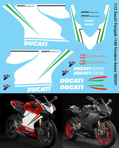 1/12 Ducati Panigale 1199 Tricolore  - Senna Decals TBD241