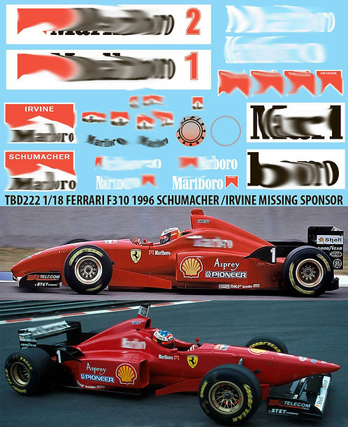 1/18 FERRARI F310 1996 SCHUMACHER IRVINE  TBD222