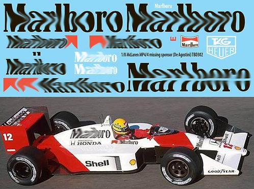 1/8 McLaren Honda MP4/4 Ayrton Senna Prost Sponsor for De Agostini Decals TBD302