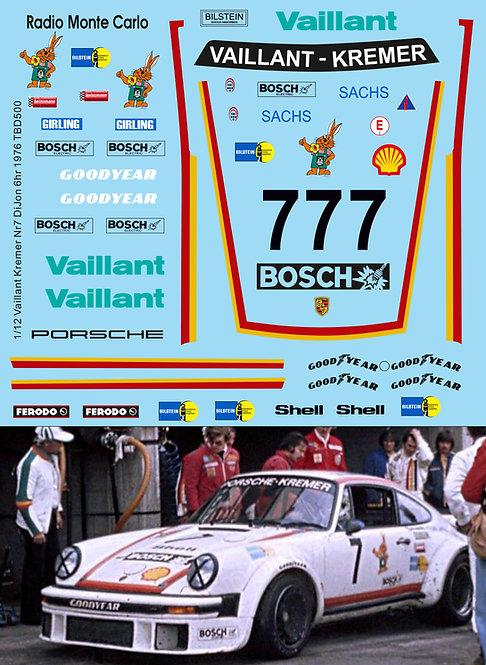 1/12 Decals Porsche 934 Vaillant Kremer Nr7 6hr Dijon 1976 TB Decal  TBD500