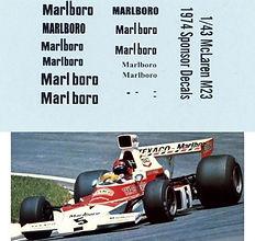 1/43 MARLBORO MCLAREN M23 1974 SPONSOR EMERSON FITTIPALDI DECALS TB DECAL TBD93