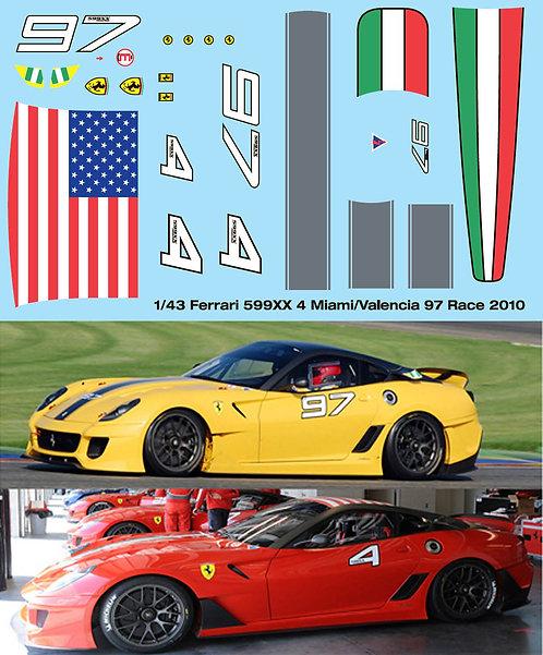 1/43 FERRARI 599XX RACE 2010 MIAMI VALENCIA TBD100