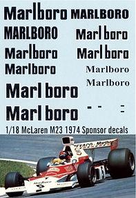 1/18 MARLBORO MCLAREN M23 1974 SPONSOR EMERSON FITTIPALDI DECALS TB DECAL TBD88