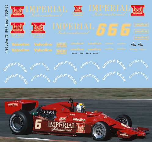 1/20 Lotus 78 1977 Imperial Nilsson Japan  Decals TB Decal TBD420