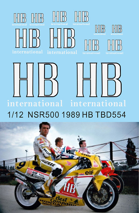 1/12 HB Logo  Decals For Honda NSR500 1989 P Chili Hasegawa Decal TBD554