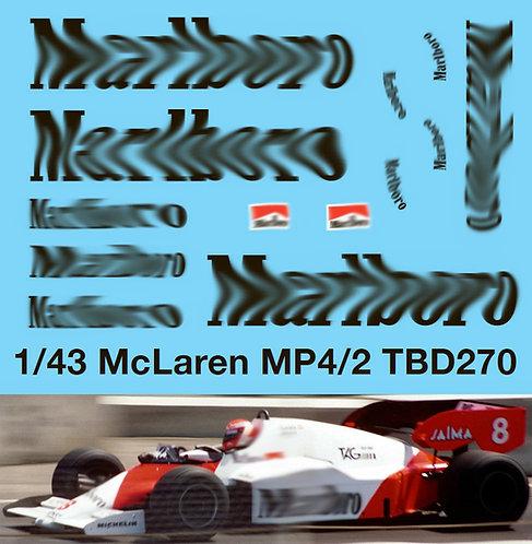 1/43 McLaren MP4/2 Tag Porsche Decals TB Decal TBD270